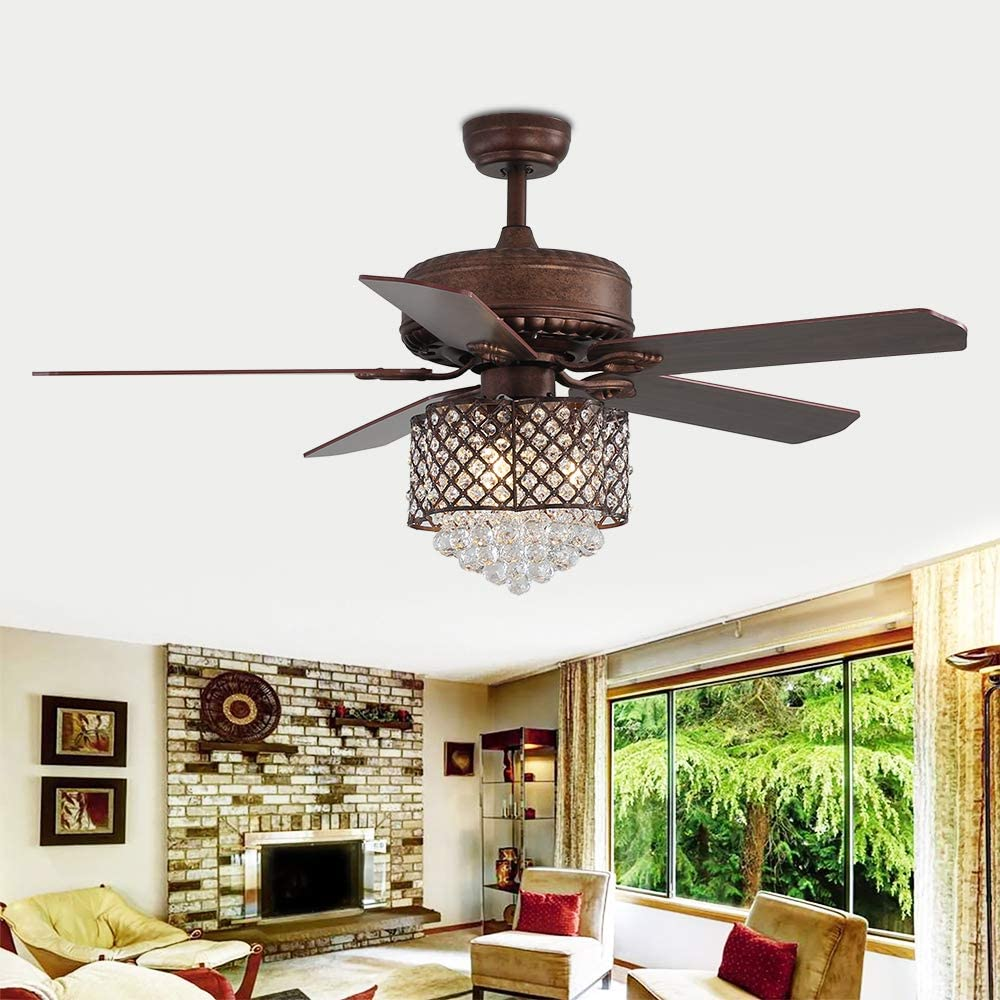 RainierLight Modern 52 Inch Crystal Ceiling Fan Lamp 5 Wood Reversible Blades with Remote Control for Living Room/Bedroom/Quiet/Decoration