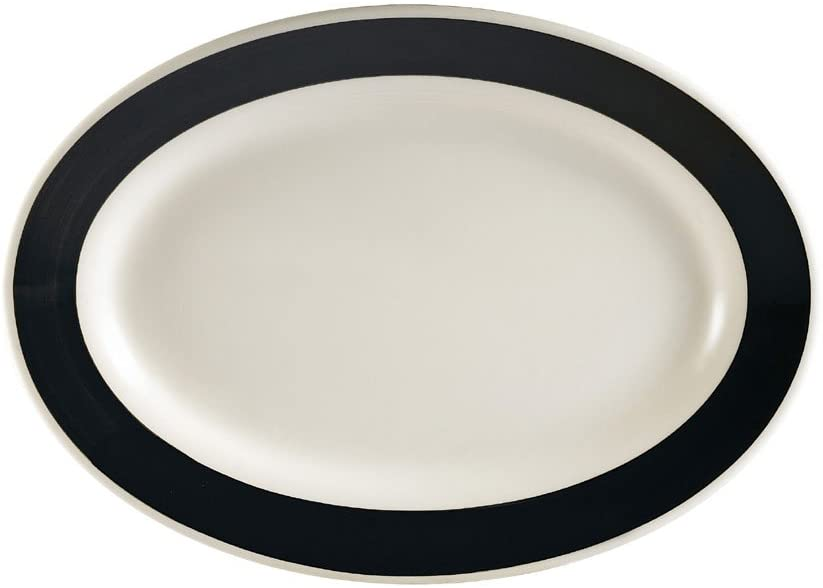 CAC China R-14-BLACK Rainbow Rolled Edge 12-1/2-Inch by 8-5/8-Inch Black Stoneware Oval Platter, Box of 12
