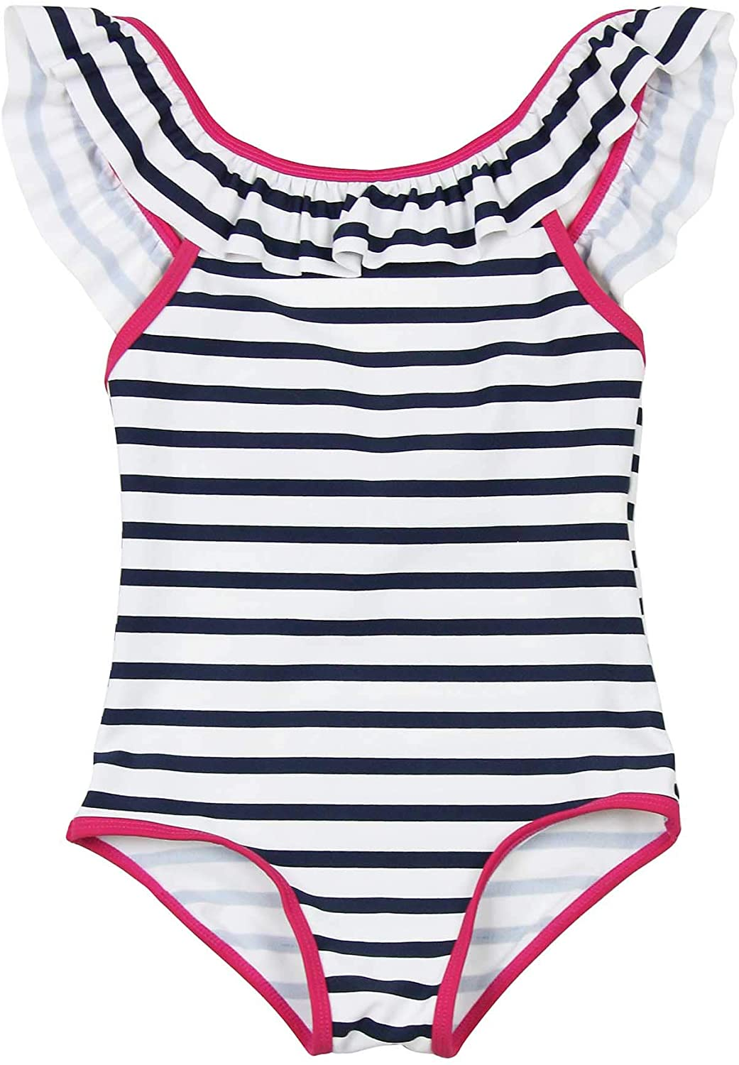 3POMMES Girls Striped One-Piece Swimsuit, Sizes 4-12
