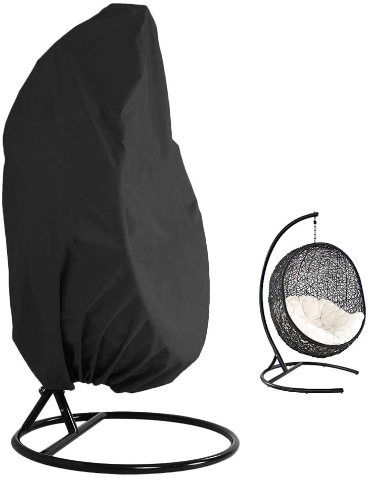 Hanging Chair Cover Patio Wicker Egg Chair Covers with Zipper for Wicker Swing Seat Chair - Furniture Protective Cover - Heavy Duty Oxford 75''HX45''D (A)