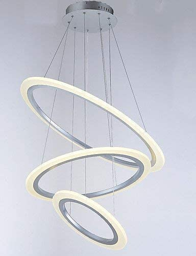BOSSLV Led Acrylic Pendent Lamps Lamps Chandeliers Ceiling Lighting with DIY 3 Rings60W Ac100 to 240V, White 220-240