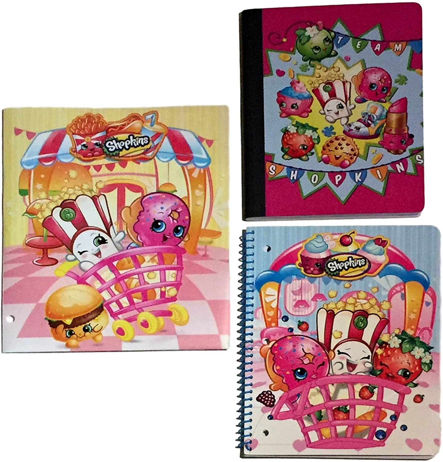 Shopkins Back To School Supply Bundle Poly Vinyl Portfolio Folder Composition Notebook and 1 Subject Notebook