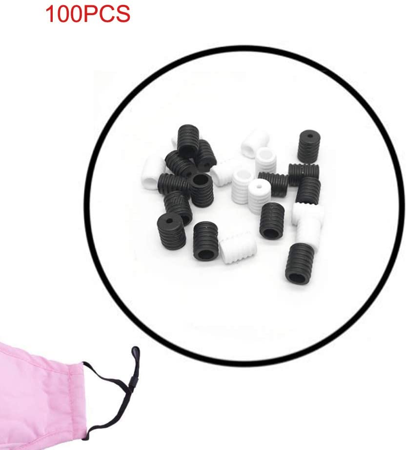 Adjustment Buckles Face Cover Anti Slip Buckle Non Slip Stopper Round Cord Lock for Children Adult (Black and White, 100PCS)