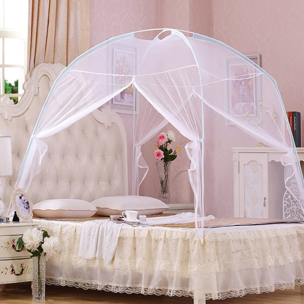 WENZHANG Pink round fly screen,Mongolian mosquito nets Double doors Anti mosquito bites mosquito beds princess bed canopy keeps away insects & flies-White 100x195cm(39x77inch)