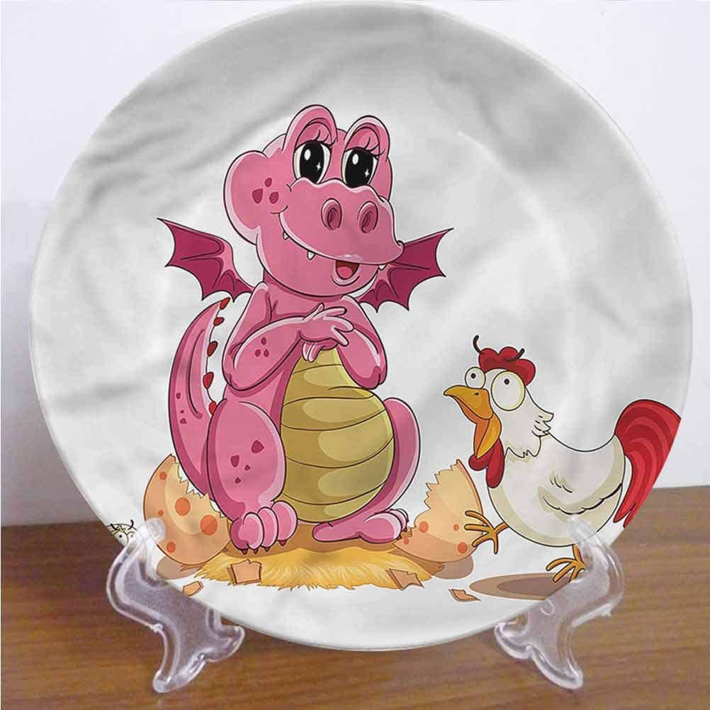 Channing Southey 6 Inch Jurassic Customized Dinner Plate Chicken and Baby Dinosaur Round Porcelain Ceramic Plate Decor Accessory for Pasta, Salad,Party Kitchen Home Decor