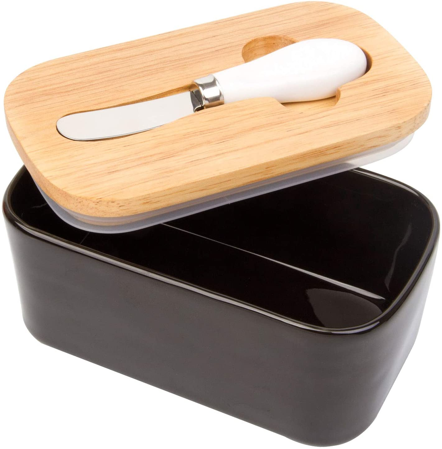 Arswin Butter Dish with Lid, LARGE 650ml Porcelain Keeper with Bamboo Cover & Stainless Steel Knife, Container Holds 2 Butter Sticks for Countertop Refrigerator, Easy Clean Butter Storage Dish (Black)