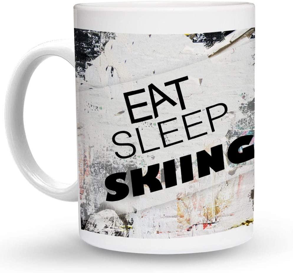 Makoroni - EAT SLEEP SKIING Sport 6 oz Ceramic Espresso Shot Mug/Cup Design#45