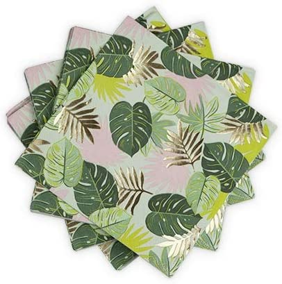Party Dinner Napkins Monstera Colorful Paper Bulk Cocktail Napkins - Set Of 4 (Sold by Case, Pack of 4)