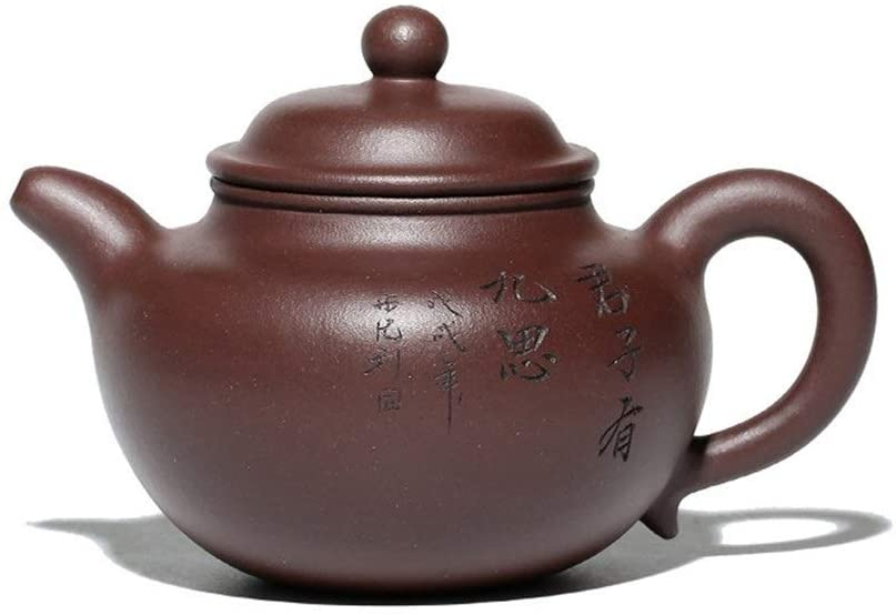 MADONG Purple clay teapot ore old classic lettering lotus pot pot (Color : Red)