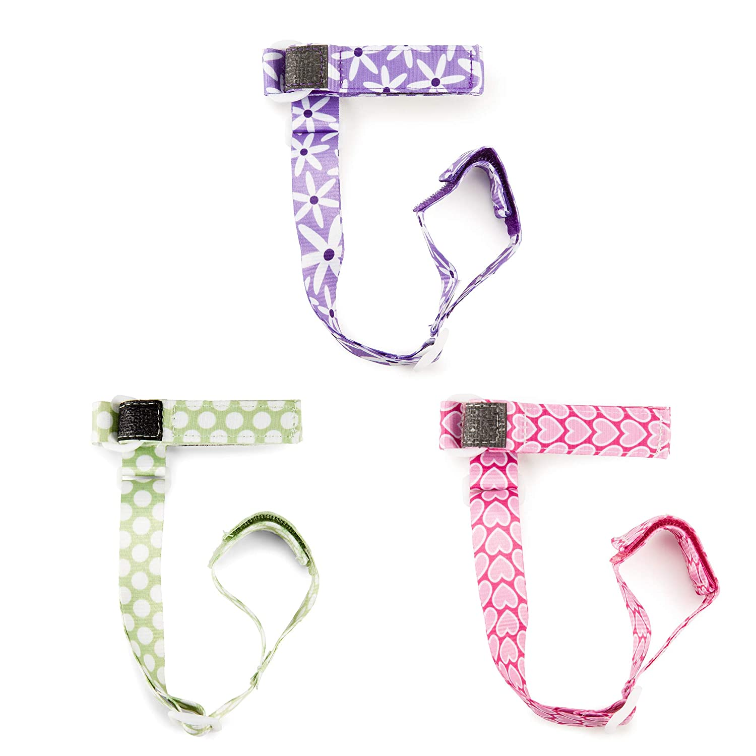 BooginHead Baby Toddler SippiGrip Sippy Cup Holder Strap, Polka Dots Green, Purple Daisy, Pink Heart (Pack of 3)