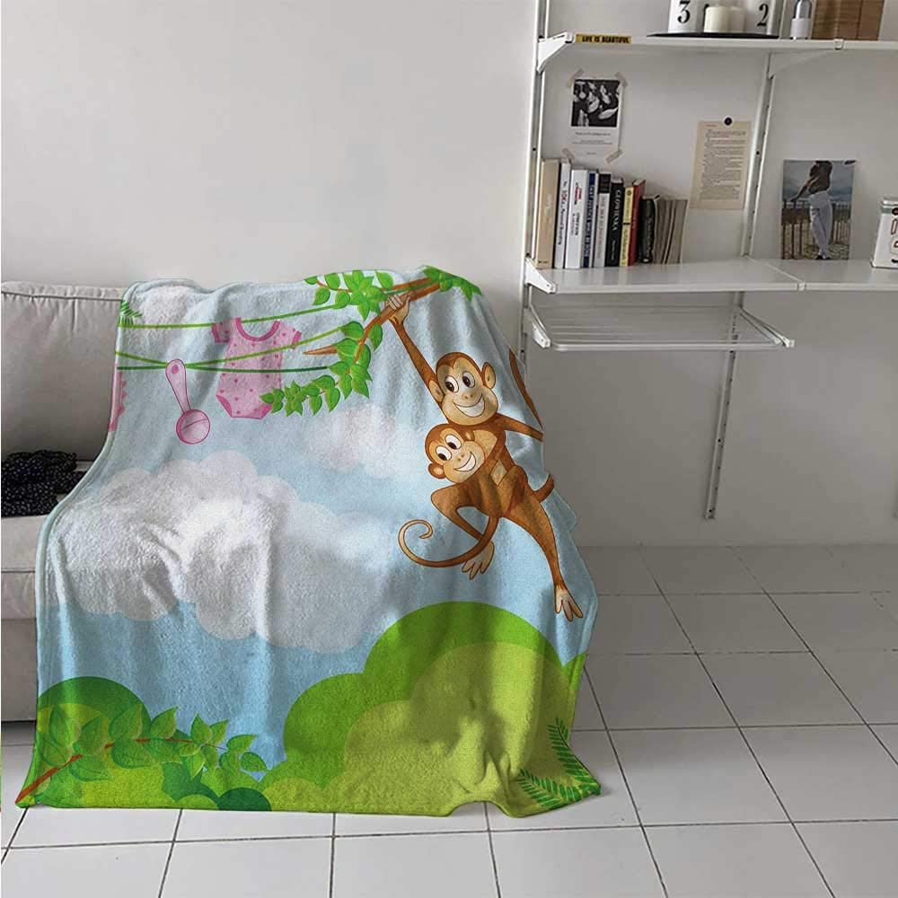 Lightweight Blanket Monkey Swinging with The Kid Baby Clothes Chimpanzee Jungle Joy Togetherness Snuggle Super Soft Blanket Soft and Cozy Green Brown Pink 70 x 90 Inch