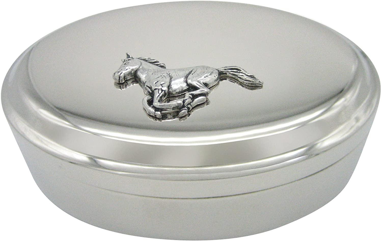 Running Horse Pendant Oval Trinket Jewelry Box