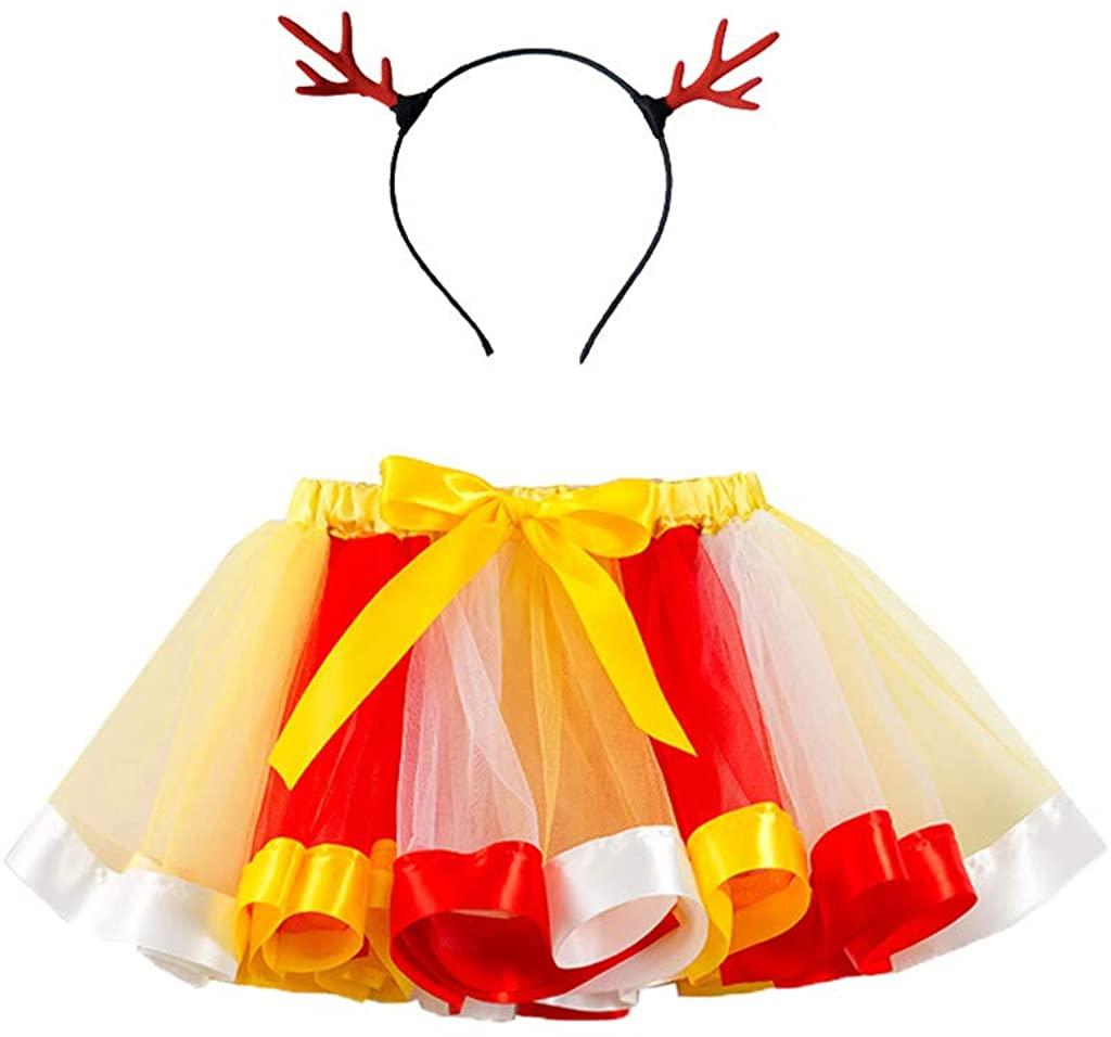 Weiliru Tutu Skirt Girls Ballet Dressing Up Tulle Rainbow Party Skirt and Hairties Hairbow