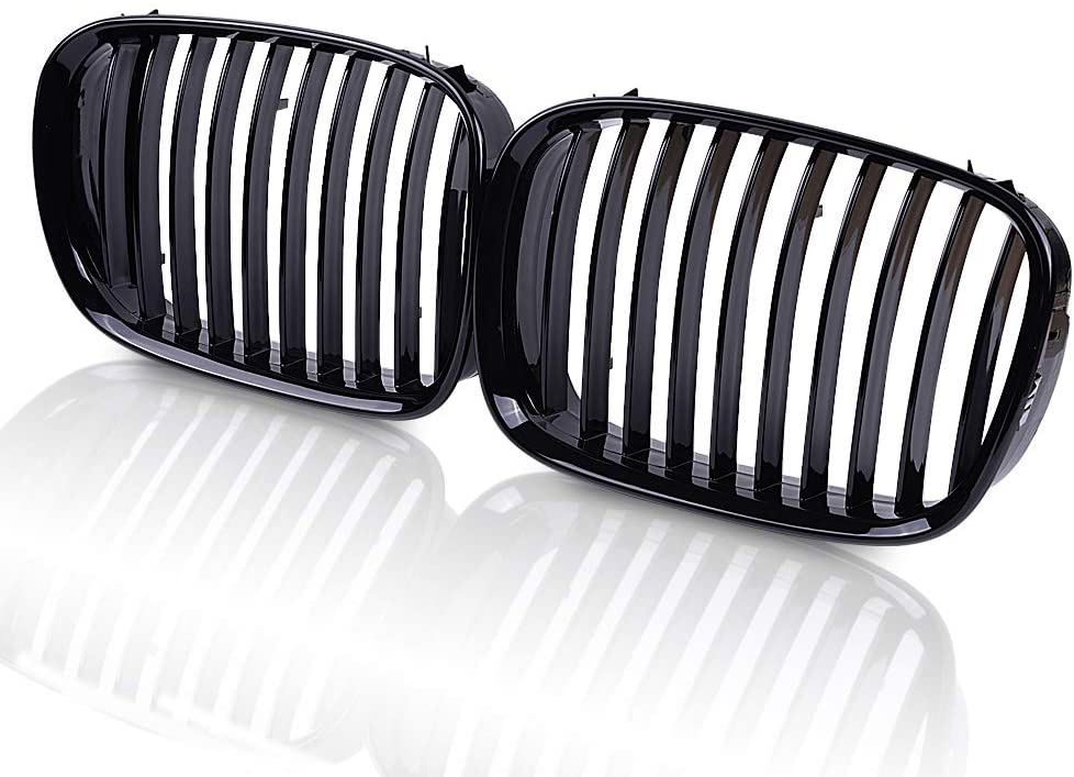 runmade Compatible with BMW 97 98 99 00 01 E39 525i 528i 530i 540i M5 5-Series Front Bumper Kidney Grille Glossy Black