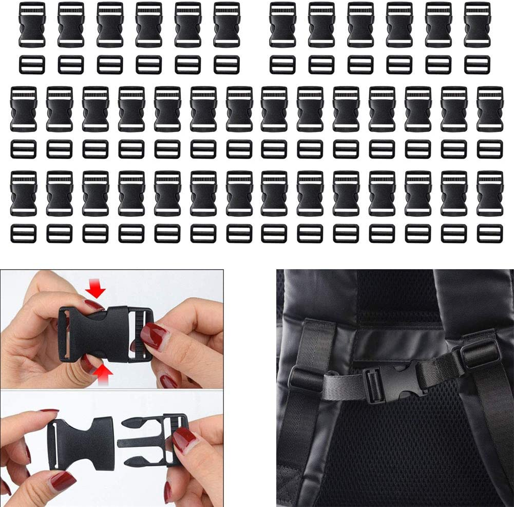 Luckycivia 40 Pack 1 Inch Flat Side Quick Release Plastic Buckles and Tri-Glide Slides Adjustment Clips, Flat Heavy Duty Dual Adjustable Buckles for Luggage Straps Pet Collar Backpack Repairing