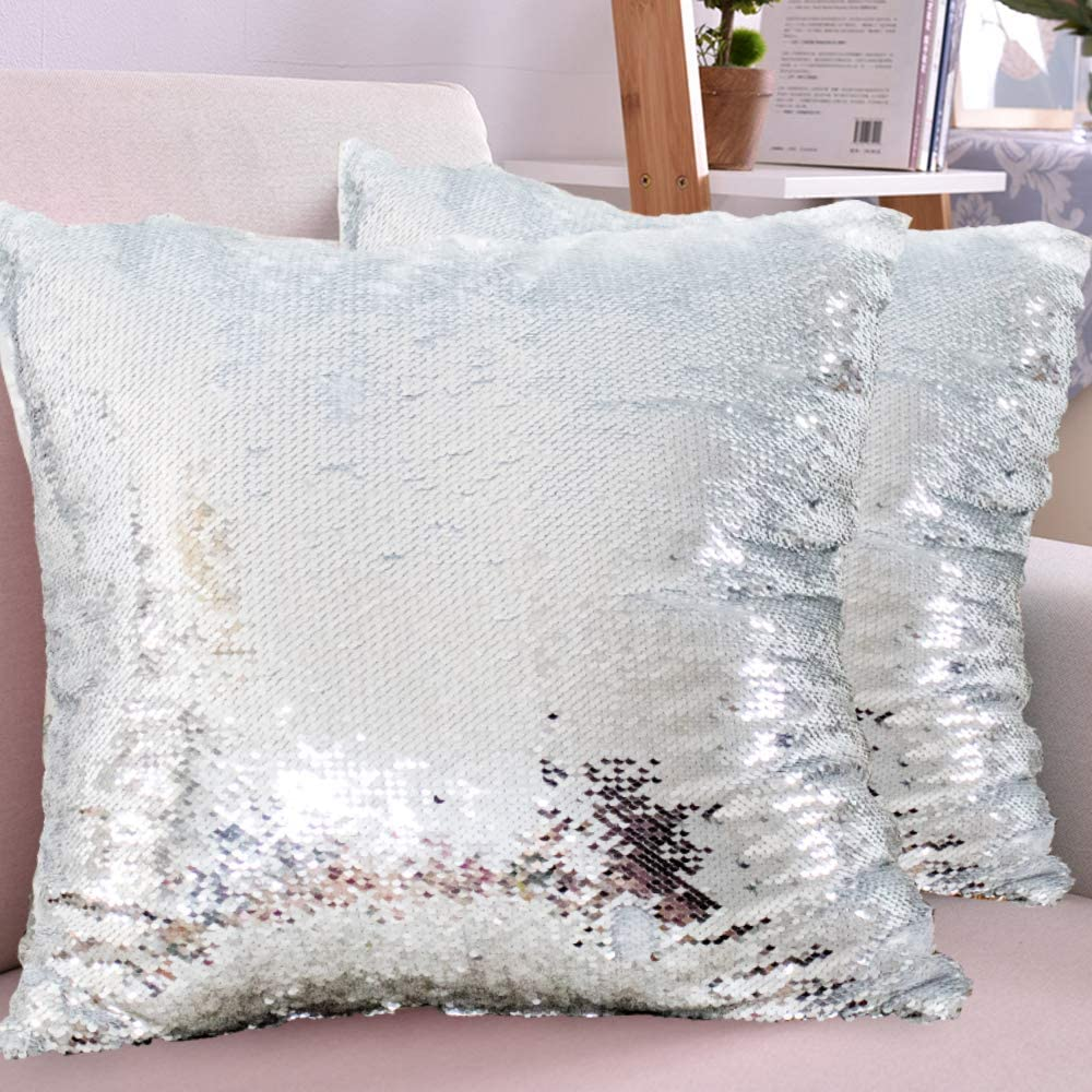 HMQIANG Sequin Pillow Covers18''x18'' Set of 2 Silver Flip Glitter Reversible Personalized Sublimation Blanks DIY Printing Cushion Pillow Cases for Couch