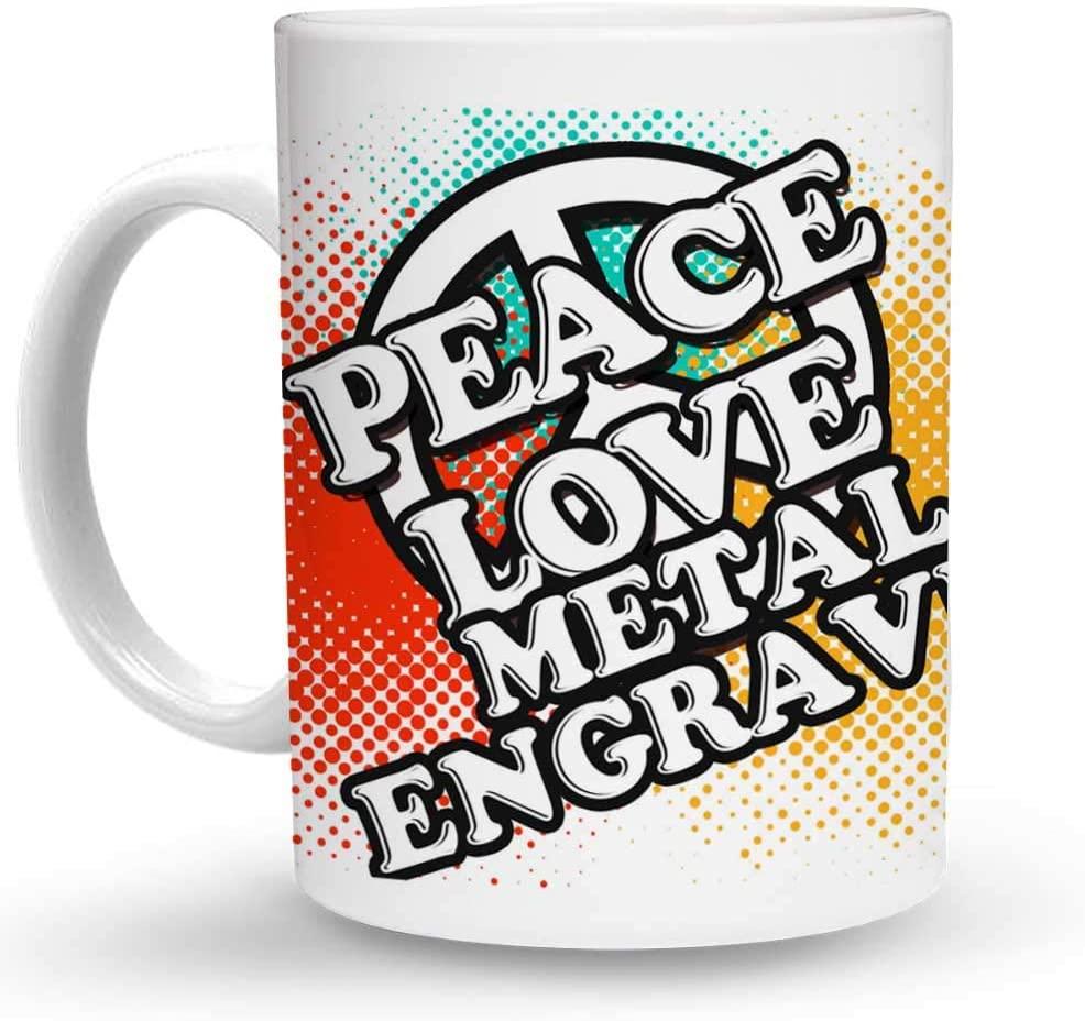 Makoroni - PEACE LOVE METAL ENGRAVER 6 oz Ceramic Espresso Shot Mug/Cup Design#42