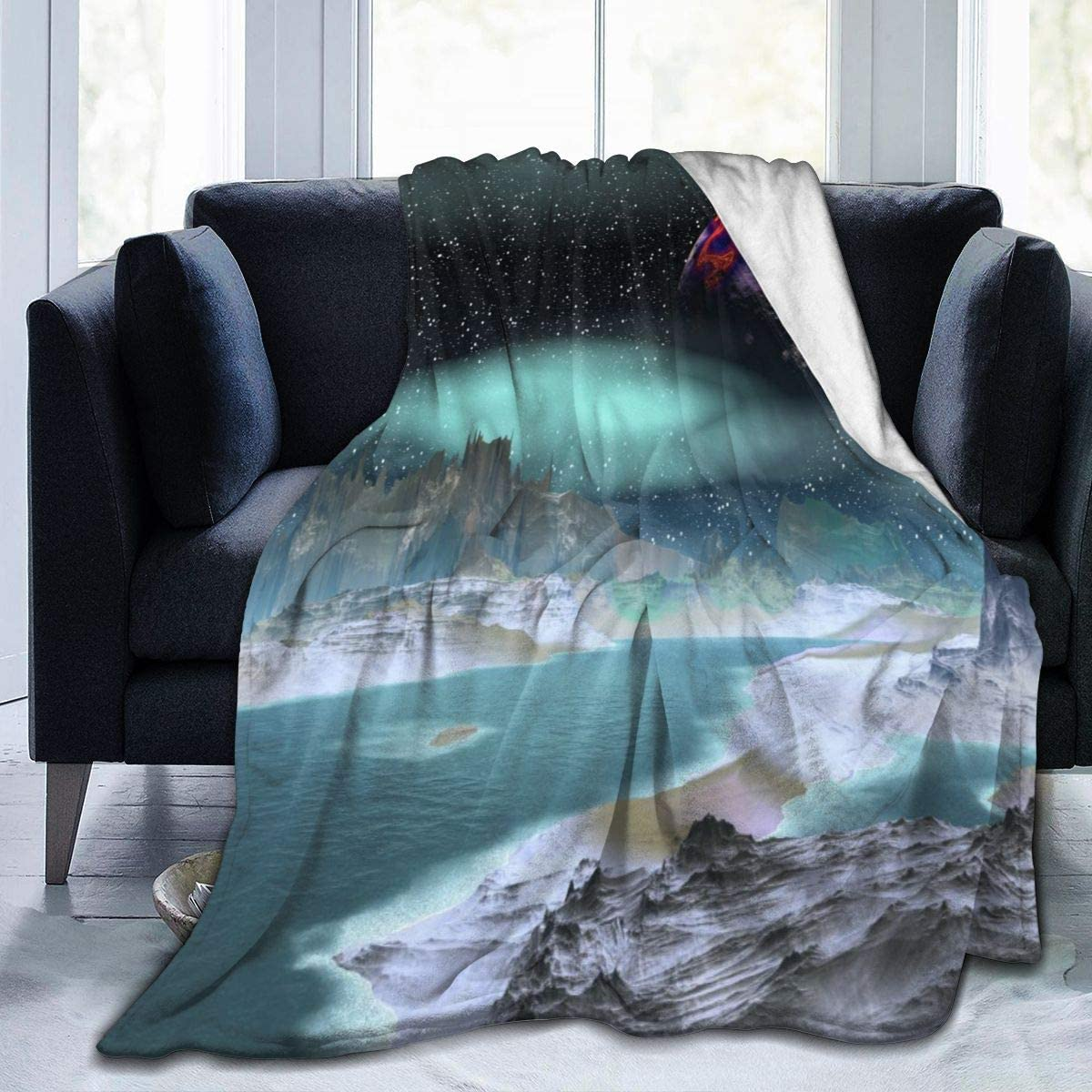 Micro Fleece Plush Soft Baby Blanket Starry Sky Lake Mirage Fluffy Warm Toddler Bed/Crib Blanket Lightweight Flannel Daycare Nap Kids Sleeping Tummy Time Throw Blanket Girls Boy Clearance Kid/Baby