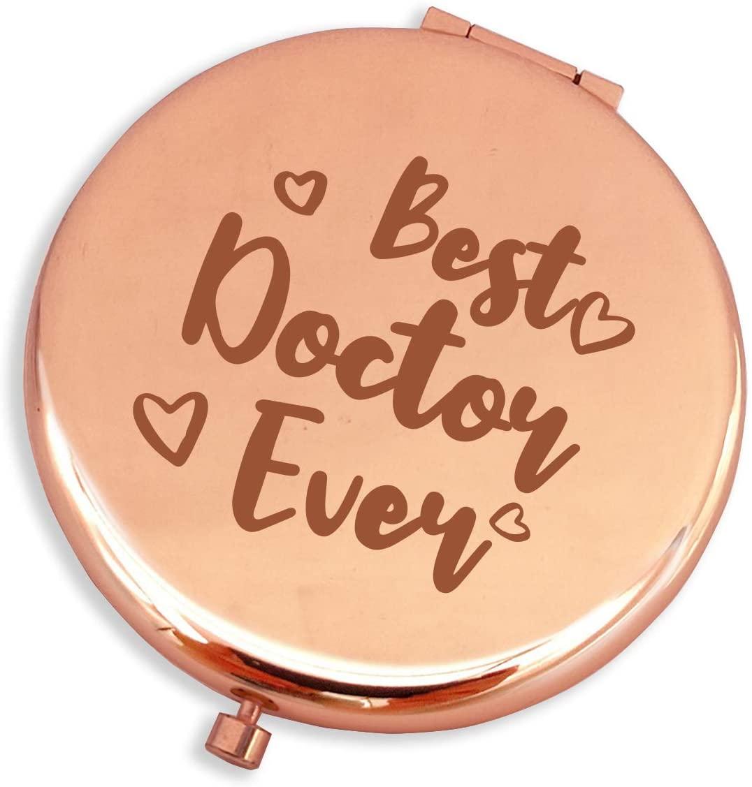 Blue Leaves Best Doctor Ever-Funny Doctor Gifts for Women,Doctor Gifts Funny,Doctor Birthday Gifts Ideas-Purse Pocket Makeup Mirror Rose Gold