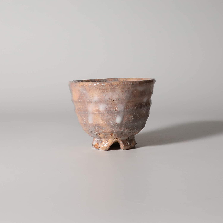 Guinomi Sake cup with wooden box. Japanese ceramic Hagi yaki. Kohei Tanaka.