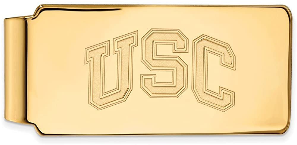 Solid 10k Yellow Gold Official University of Southern California Slim Business Credit Card Holder Money Clip - 53mm x 24mm