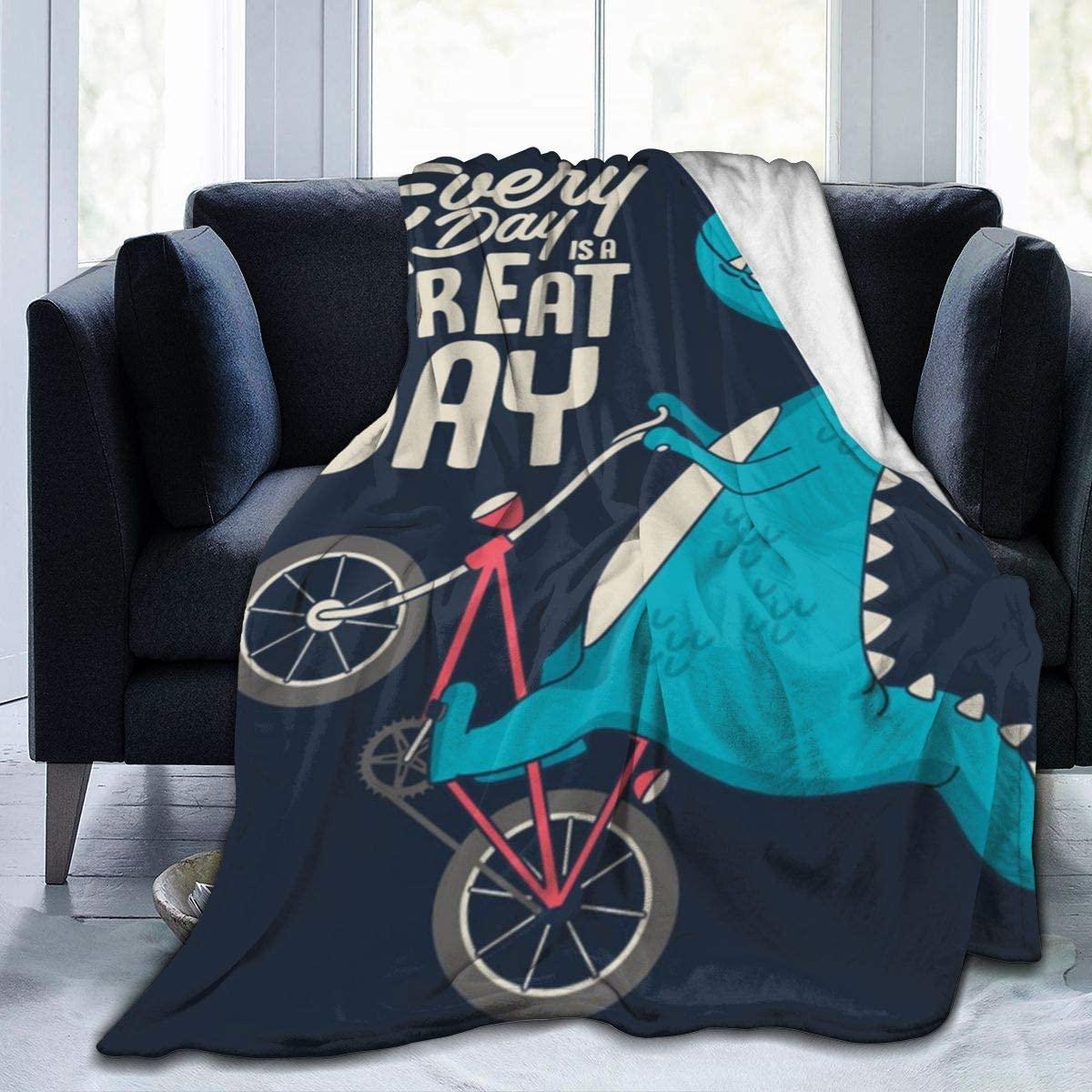 Micro Fleece Plush Soft Baby Blanket Cute Dinosaur Riding A Bike Fluffy Warm Toddler Bed/Crib Blanket Lightweight Flannel Daycare Nap Kids Sleeping Tummy Time Throw Blanket Girls Boy Kid/Baby
