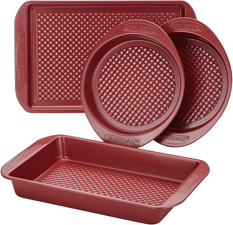 Farberware 47134 Nonstick Bakeware Set with Nonstick Cookie Sheet / Baking Sheet, Baking Pan and Cake Pans - 4 Piece, Red
