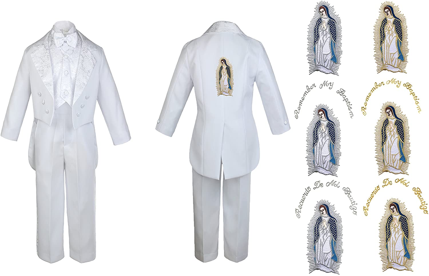 Baby Boy Kid Christening Baptism White Tail Suit Virgin Mary Maria on Back Sm-7