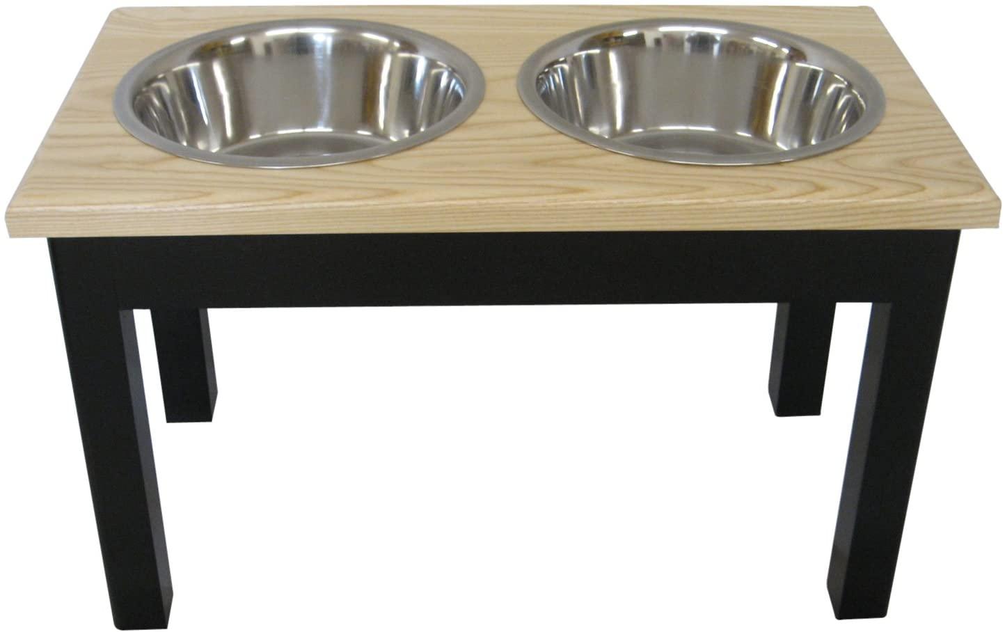 Classic Pet Beds 2-Bowl Traditional Style 2-Quart Ash Pet Diner, Medium, Espresso/Natural
