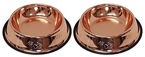 Melzon Petsentials Non-Skid Stylish Food Bowl for Your Pet, Premium Grade Stainless Steel - Elegant Bronze | Small, 18oz