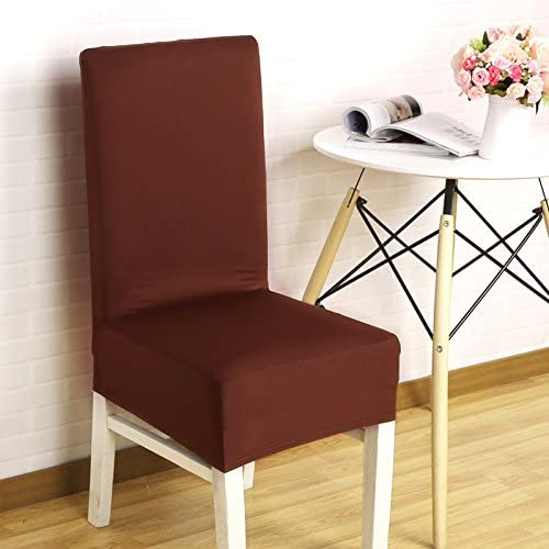 TDLC Stretch fabric upholstery Siamese restaurant chairs and seat upholstery fabrics hotel restaurant home stool kit hood, dark brown
