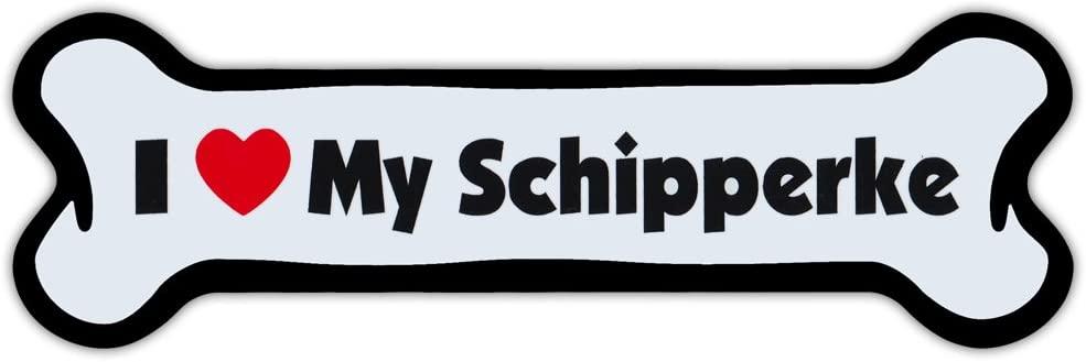Crazy Sticker Guy Dog Bone Shaped Magnet - I Love My Schipperke - Cars, Trucks, Refrigerators