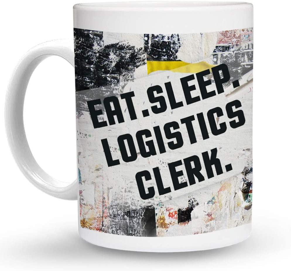 Makoroni - EAT SLEEP LOGISTICS CLERK 6 oz Ceramic Espresso Shot Mug/Cup Design#19