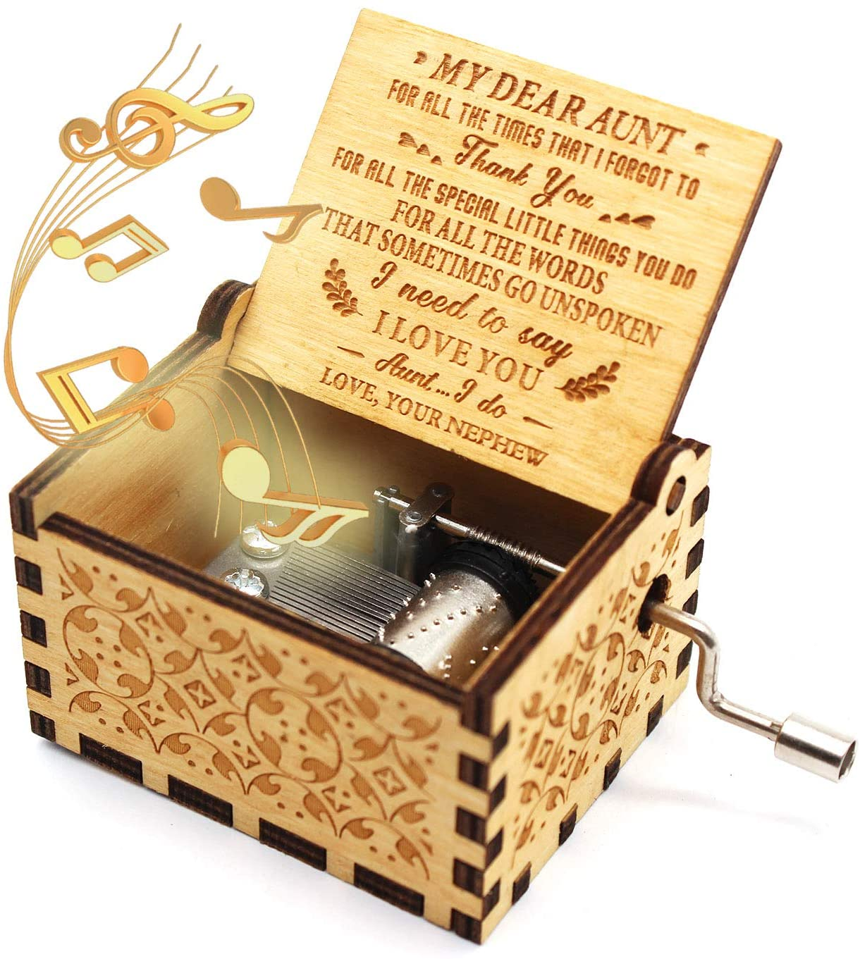 ukebobo Wooden Music Box- You are My Sunshine Music Box, from Nephew to Aunt, Unique Music Box for Aunt - 1 Set