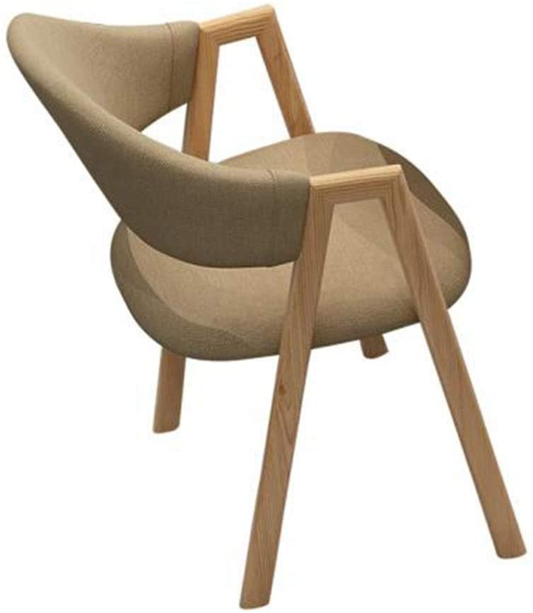 QTQZDD Mid Century Modern Dining Chairs Linen Fabric with Wood Finished Metal Legs Kitchen Vacation Home Extra Room Stools (Color : Khaki)