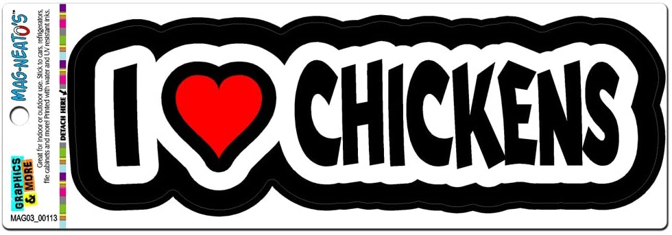 Graphics and More I Love Heart Chickens Automotive Car Refrigerator Locker Vinyl Magnet