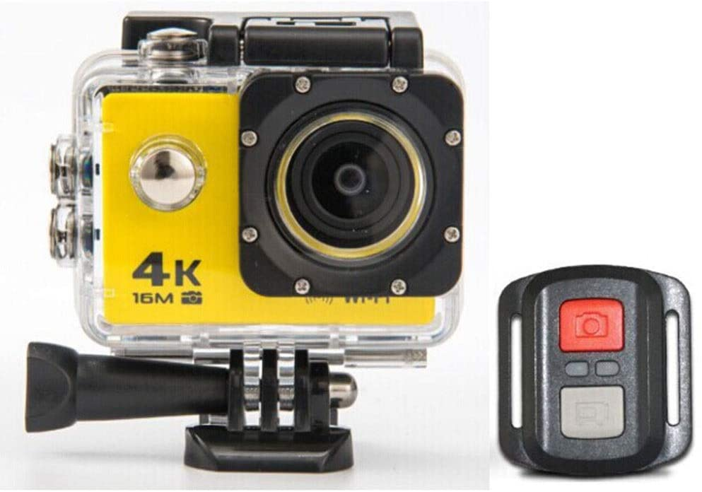 Zhengtufuzhuang Waterproof Sports Camera 4K, 2.4g Remote Control, WiFi One-to-one Connection, Underwater Camera, 170-degree Wide-Angle Lens, Size 59x41x24.8mm Transparent Fiber (Color : Yellow)