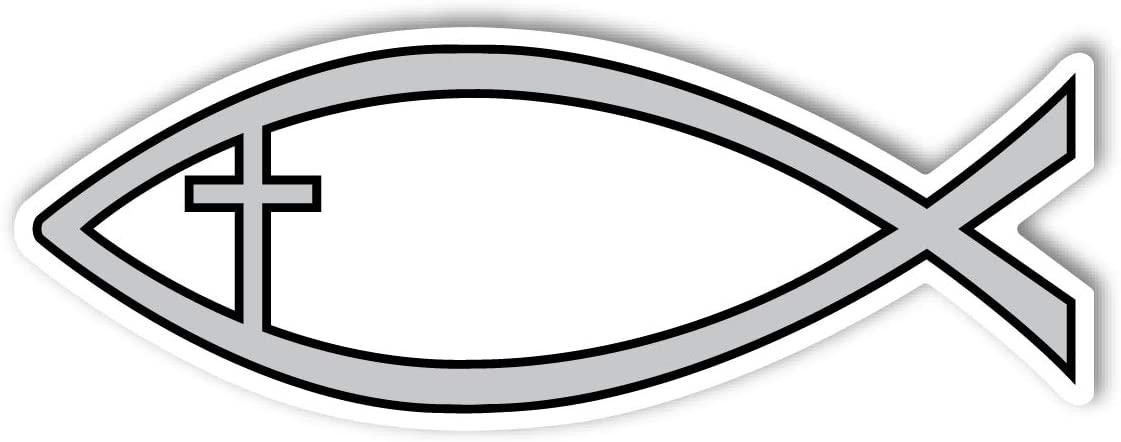 Silver Cross Fish Mini Magnet