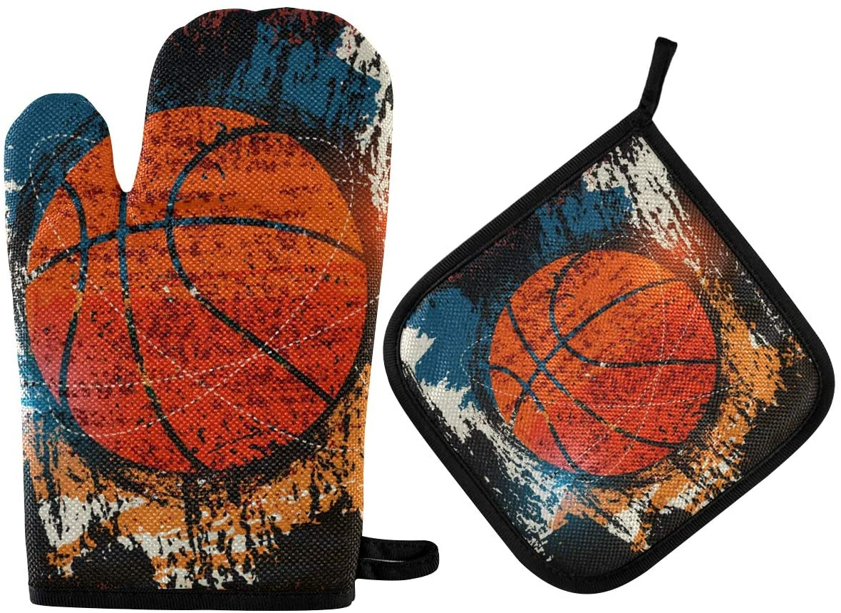 DOMIKING Pot Holders Oven Mitts Sets - Basketball Typographical Oven Gloves Heat Resistant Hot Pads Non-Slip Potholders for Kitchen Baking BBQ