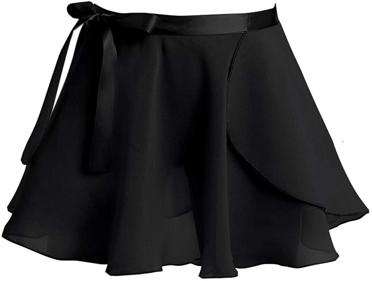 JEATHA Kids Girls Chiffon Classic Ballet Dance Mini Wrap Skirt Tie Waist Gymnastic Exercise Dancewear Casual Daily Wear