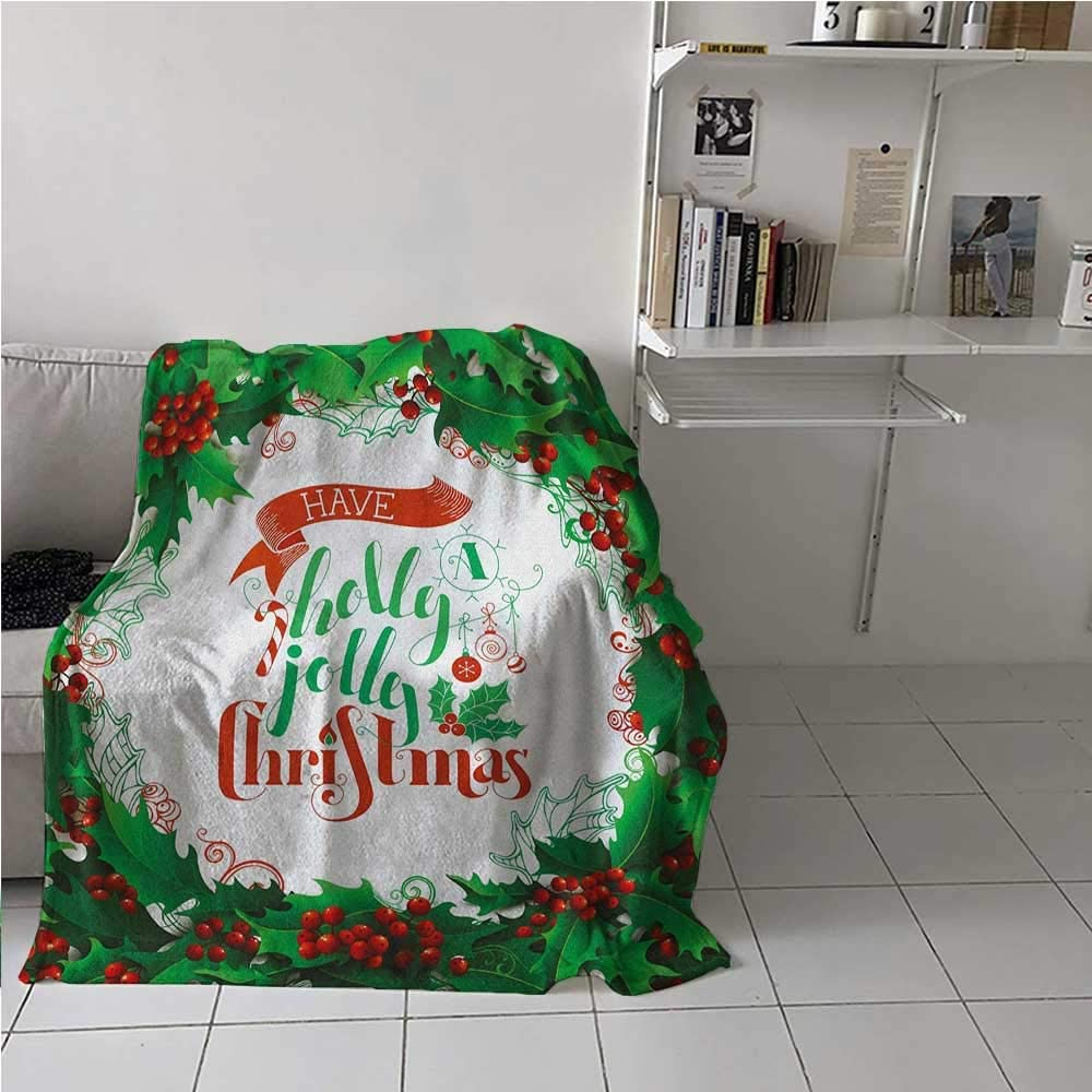Breathable Blanket Have A Happy Jolly Christmas Lettering with Red Berries Framework Print Light Thermal Blanket for Kid Baby Toddler Teenager Green Red and White 60 x 80 Inch