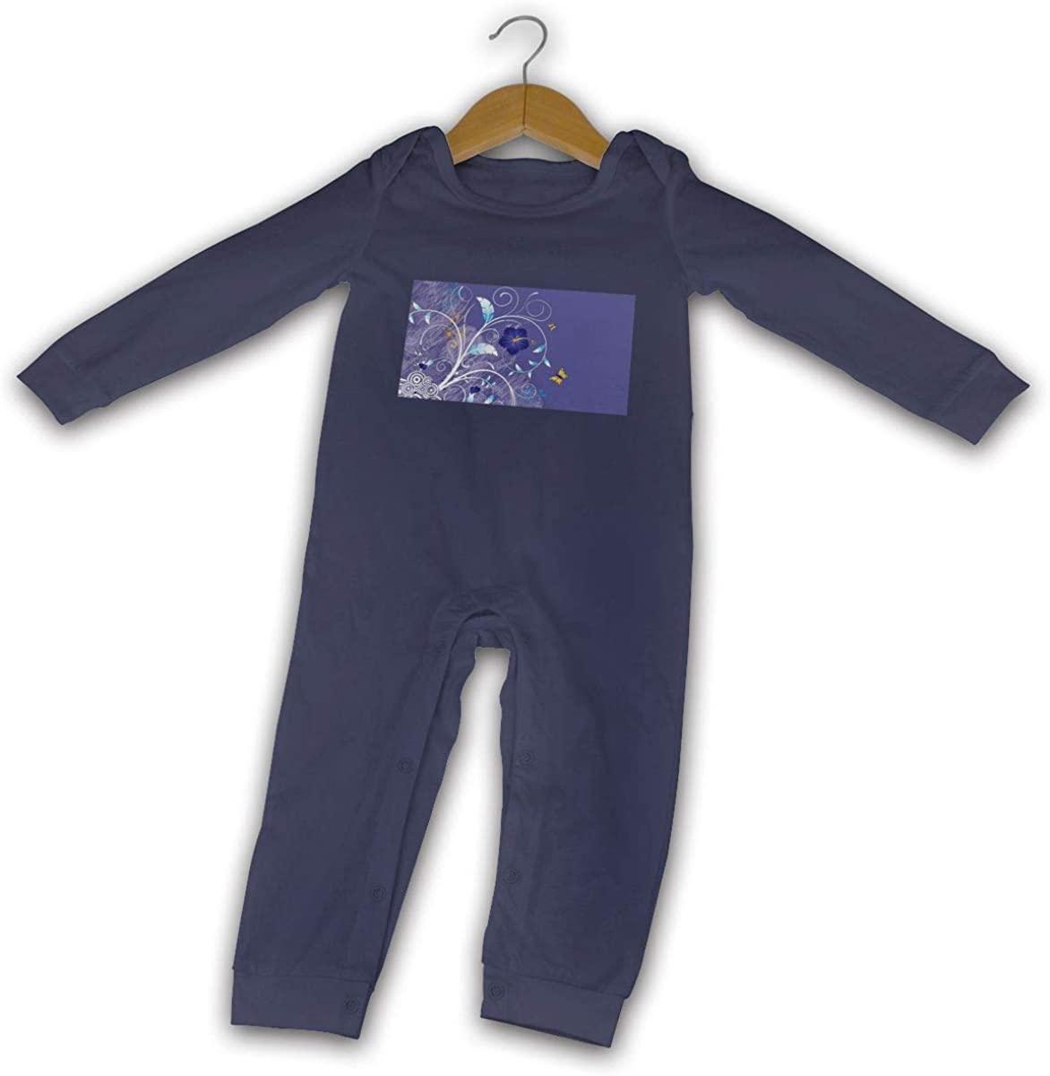Blue Butterflys Boy Girl Baby Jumpsuit Cotton Crawl Suit Long Sleeve Romper