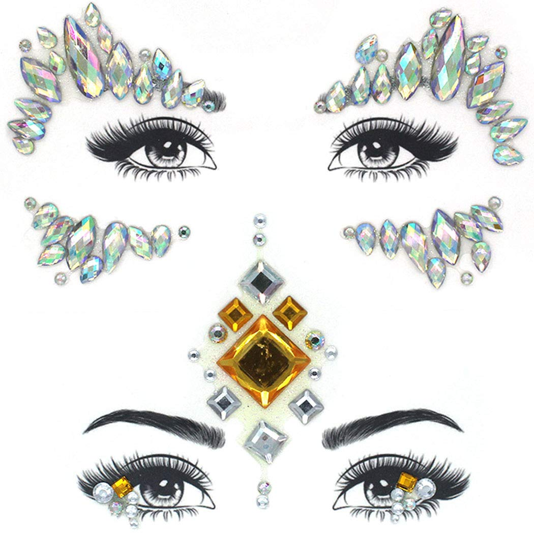 Nicute Rhinestones Mermaid Face Jewels Tattoo Luminous Face Gems Temporary Stickers Crystals Festival Body Jewelry for Women and Girls(2 Pieces)