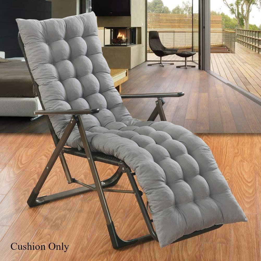 OLLOLCCY Rocking Chair Cushion Replacement Sun Lounger Cushion Relax Recliner Not-Slip High Back Chair Cushion Wicker Chair Pad(Cushion Only) Gray 150x48cm(59x19inch)