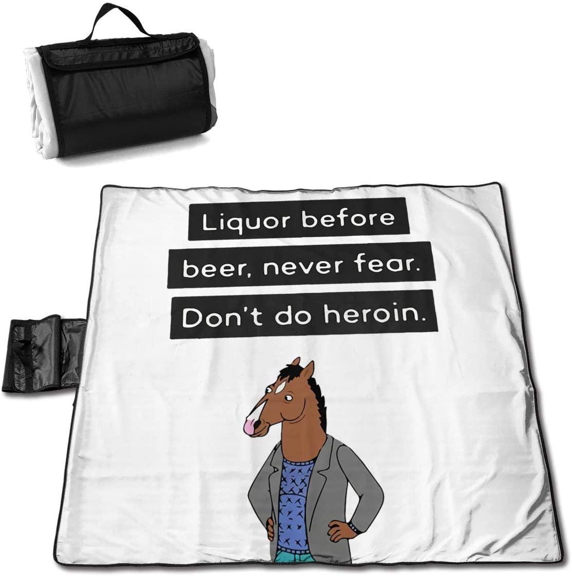 Zcm Bo-Jack Horseman Funny Portable Printed Picnic Blanket Waterproof 59x57(in)