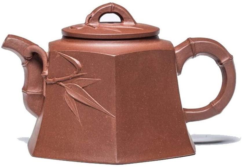 MADONG Ore Full handmade purple clay teapot tea exquisite bamboo hexagonal Admiralty Teapot Set (Color : Red)