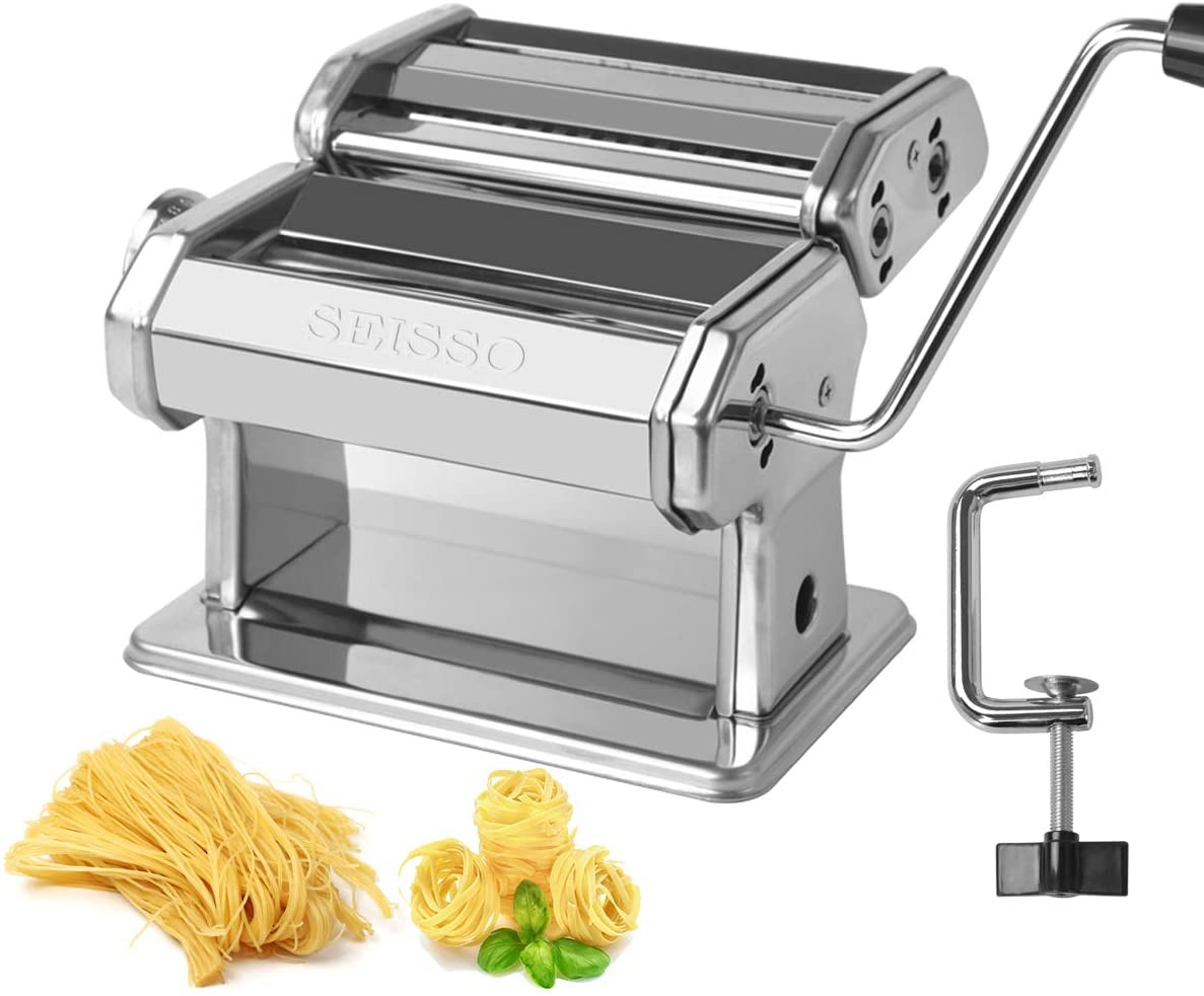 Pasta Maker Machine Stainless Steel Removable Noodle Making Manual Hand Crank Pasta Machine - Perfect for Homemade Spaghetti and Fettuccini, Linguine, Trenette, Lasagna or Dumpling Skins