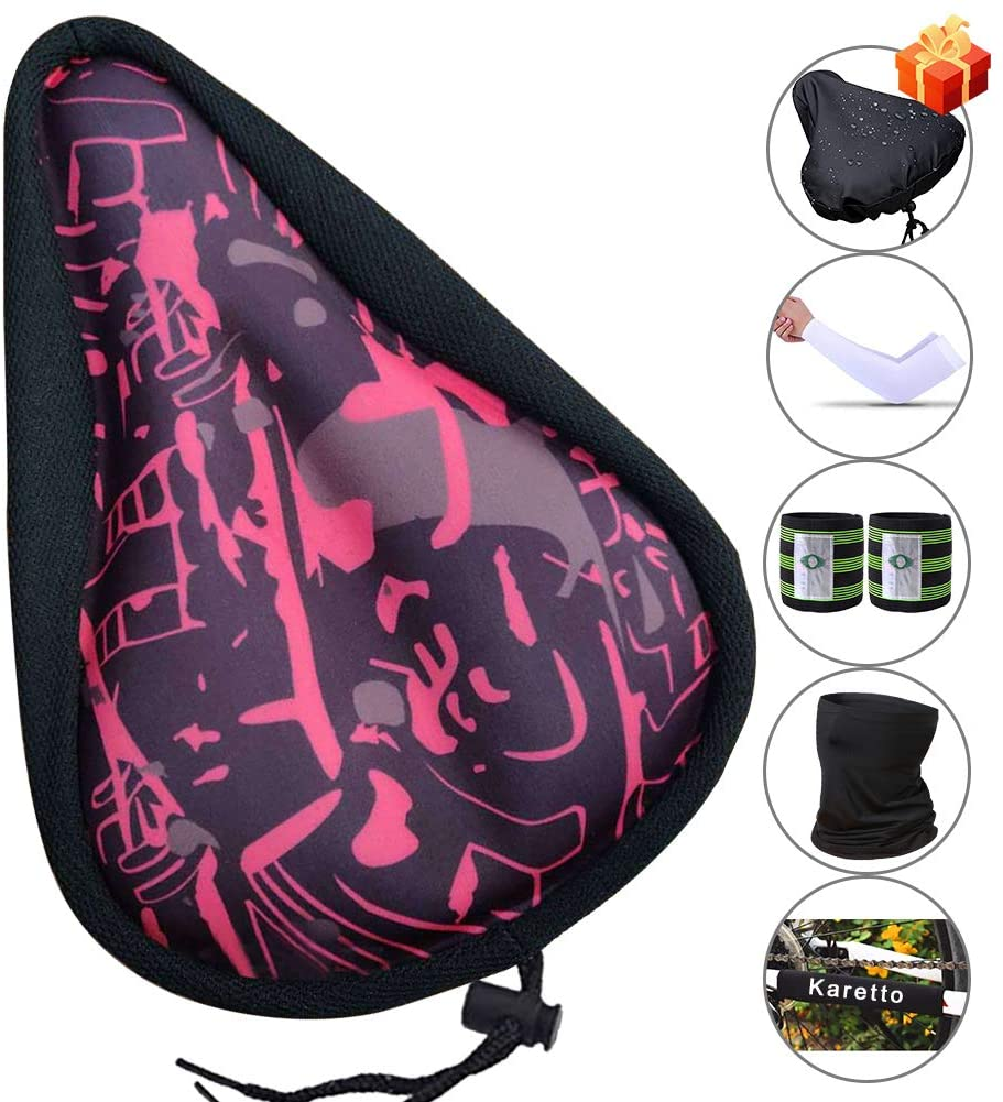 Karetto Bike Gel Seat Cover Road - Bicycle Saddle Cover with Drawstring, Water&Dust Resistant Cover,Reflective Band Bandanas ,Soft Cushion for Mountain, Road and Cruiser Bikes