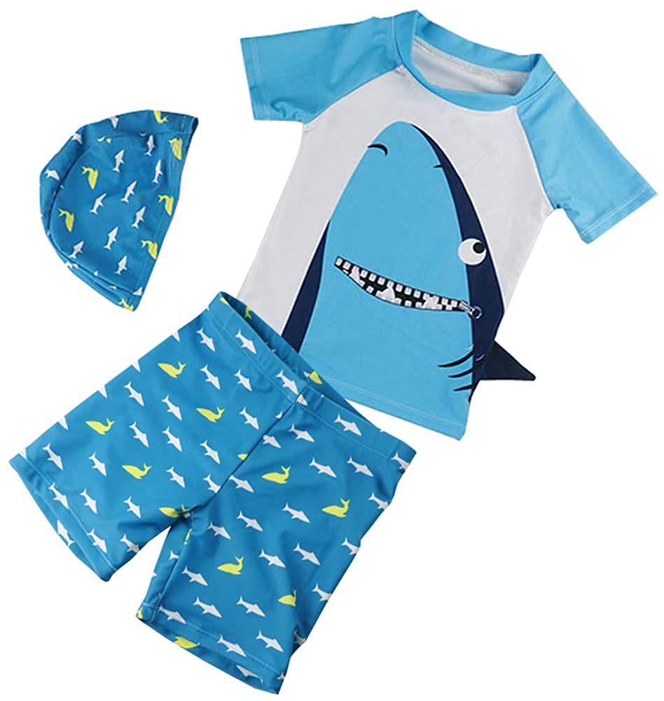 Baby Boys Two Piece Swimsuits Rash Guard Short Sleeve Shark Bathing Suit Swimwear Sets with Hat UPF 50+ for Kids (Zipper Shark, 18-24 Months)