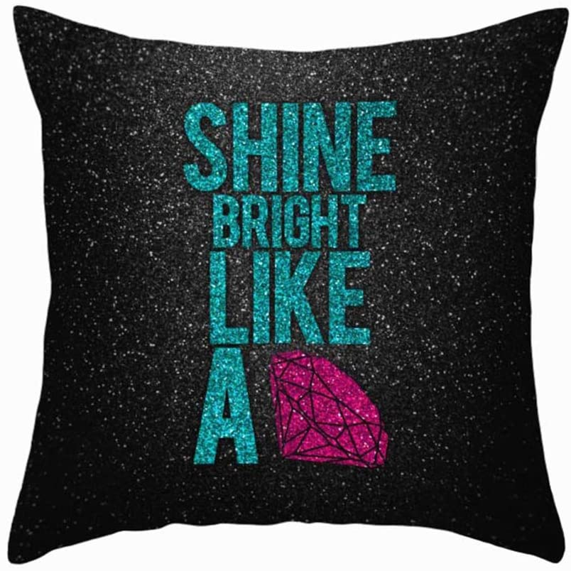 "Fukeen Black Throw Pillow Cases Home Office Decor Shine Bright Like A Diamond Quotes Cushion Cover Super Soft Standard 18"" x 18"" Pillowcase"